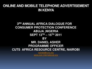 ONLINE AND MOBILE TELEPHONE ADVERTISEMENT IN KENYA