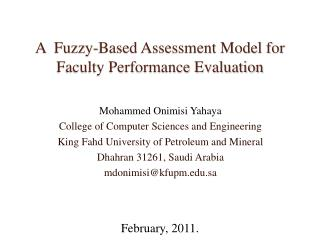 A  Fuzzy-Based Assessment Model for Faculty Performance Evaluation