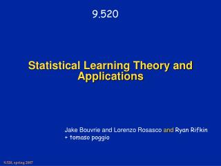 Statistical Learning Theory and Applications