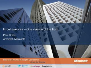 Excel Services   One version of the truth
