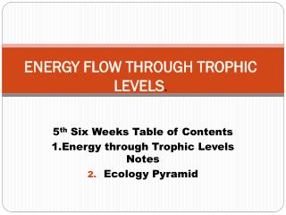 ENERGY FLOW THROUGH TROPHIC LEVELS .
