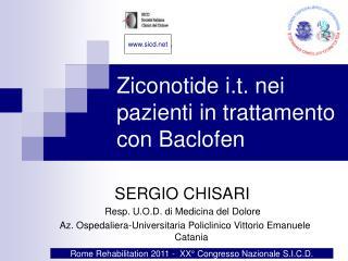 Ziconotide i.t. nei pazienti in trattamento con Baclofen