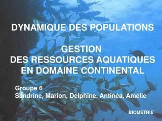 DYNAMIQUE DES POPULATIONS GESTION  DES RESSOURCES AQUATIQUES EN DOMAINE CONTINENTAL