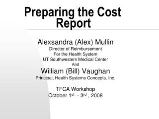 Preparing the Cost   Report