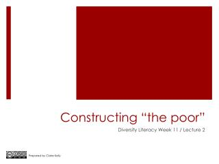 "Constructing ""the poor"""