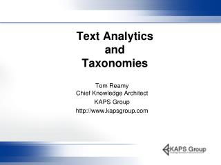 Text Analytics  and Taxonomies