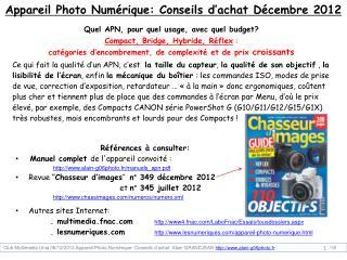 Appareil Photo Numérique:  Conseils d'achat Décembre 2012