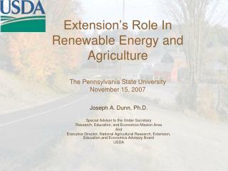Joseph A. Dunn, Ph.D. Special Advisor to the Under Secretary