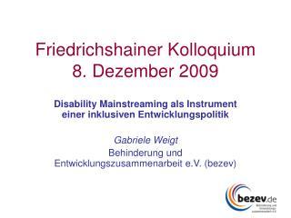 Friedrichshainer Kolloquium 8. Dezember 2009