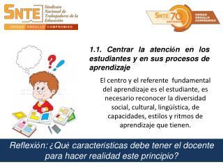 1.1. Centrar la atenci ó n en los estudiantes y en sus procesos de aprendizaje