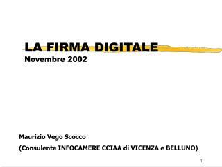 LA FIRMA DIGITALE Novembre 2002