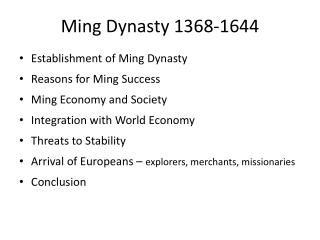 Ming Dynasty 1368-1644