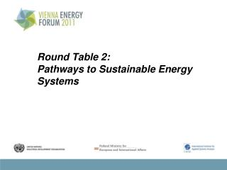 Round Table 2: Pathways  to Sustainable Energy  Systems