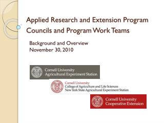 Applied Research and Extension  Program Councils  and Program Work Teams