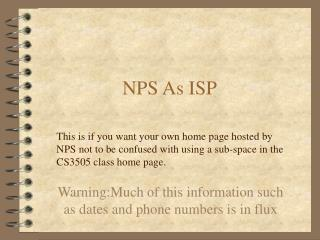 NPS As ISP