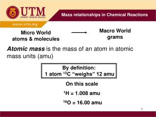 """By definition:  1 atom  12 C """"weighs"""" 12  amu"""