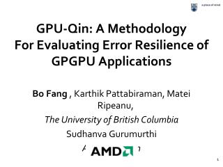 GPU-Qin: A Methodology  For Evaluating Error Resilience of GPGPU Applications