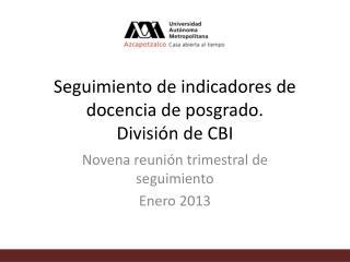 Seguimiento de indicadores de docencia de posgrado.  División de CBI