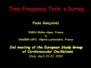 Time-Frequency Tools: a Survey