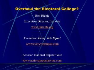 Overhaul the Electoral College?
