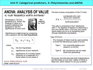 Unit 9: Categorical predictors, II—Polychotomies and ANOVA