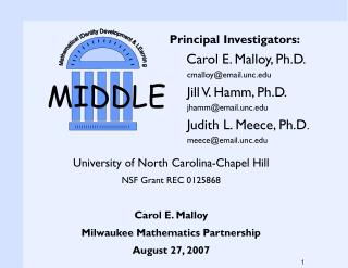 Principal Investigators: Carol E. Malloy, Ph.D. cmalloy@email.unc Jill V. Hamm, Ph.D.
