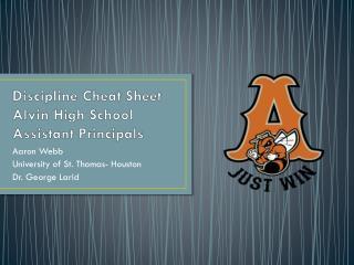 Discipline Cheat Sheet Alvin High School Assistant Principals