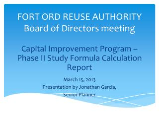 FORT ORD REUSE AUTHORITY Board of Directors meeting