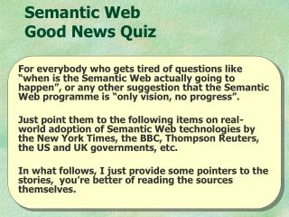 Semantic Web  Good News Quiz