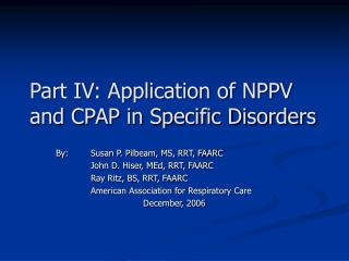 Part IV: Application of NPPV and CPAP in Specific Disorders