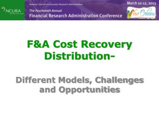 F&A Cost Recovery  Distribution-