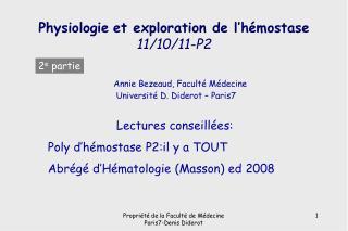 Physiologie et exploration de l'hémostase 11/10/11-P2