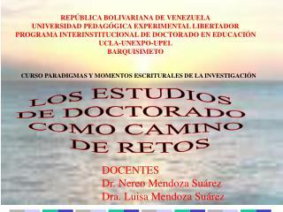 LOS ESTUDIOS  DE DOCTORADO  COMO CAMINO  DE RETOS