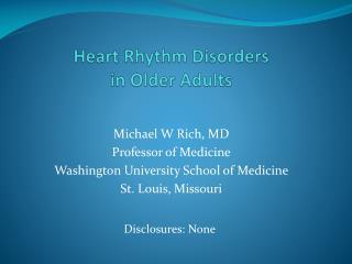 Heart Rhythm Disorders in Older Adults