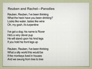 Reuben and Rachel —Parodies