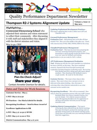 Quality Performance Department Newsletter