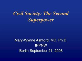 Civil Society: The Second Superpower