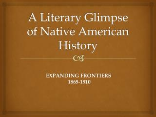 A Literary Glimpse of Native American History