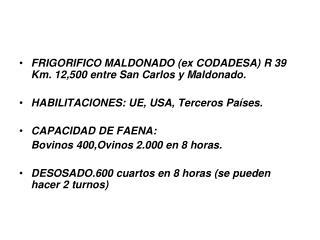 FRIGORIFICO MALDONADO(ex CODADESA) R 39 Km. 12,500 entre San Carlos y Maldonado.