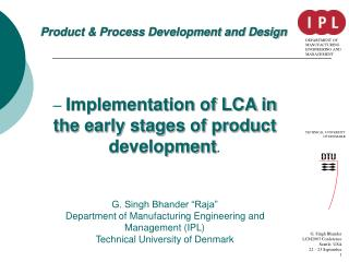 Product & Process Development and Design