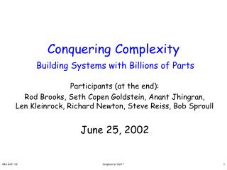 Conquering Complexity Building Systems with Billions of Parts