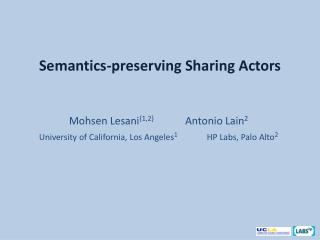 Semantics-preserving Sharing Actors