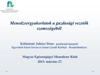 Magyar  Egészségügyi Menedzser Klub  2013.  m árcius 27.