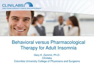 Behavioral versus Pharmacological Therapy for Adult Insomnia
