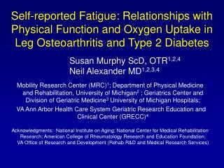 Susan Murphy ScD, OTR 1,2,4 Neil Alexander MD 1,2,3,4
