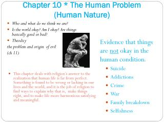 Chapter 10 * The Human Problem (Human Nature)