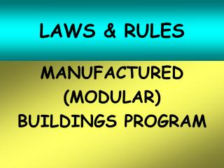 LAWS & RULES