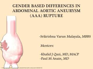 GENDER BASED DIFFERENCES IN ABDOMINAL AORTIC ANEURYSM (AAA) RUPTURE