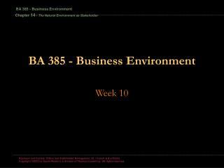 BA 385 - Business Environment