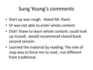 Sung Young's comments